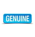 Genuine blue 3d realistic square isolated button