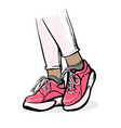 girl standing in trendy pink sneakers vector image