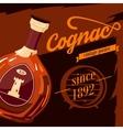 Glassware bottle of cognac vintage poster vector image vector image