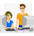 graphic designers with graphic tablet in office vector image vector image