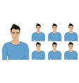 Handsome young guy with different facial emotions vector image vector image