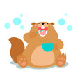 happy fluffy beaver love brushing teeth cartoon vector image