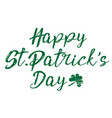 happy patrick day vintage lettering with clover vector image vector image