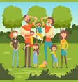 happy tired parents with many children in the park vector image vector image