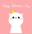 happy valentines day cute cat kitten kawaii kitty vector image