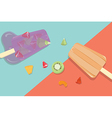 Homemade fruit popsicles with vintage background vector image vector image