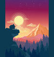 house on top mountain vector image