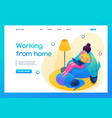 isometric 3d girl works in a homely cozy vector image