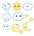 kawaii weather icons cute characters isolated on vector image