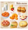 Kids menu Set of cartoon food icons vector image vector image