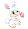 little cute funny white rabbit with easter egg vector image