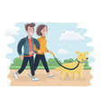 man and woman walking vector image