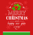 merry christmas typography card vector image vector image