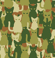 Military texture of cats Army seamless pattern vector image vector image