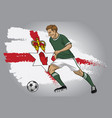 Northern ireland soccer player with flag