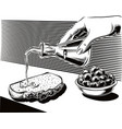 olives in a bowl and female hand vector image vector image