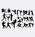 people fighting duel martial art silhouettes vector image vector image