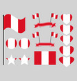 peru flag set symbols flag in heart vector image vector image
