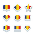 romania flags icons and button set nine styles vector image