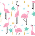 seamless trendy tropical pattern pink flamingo vector image vector image