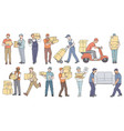 set male workers from different delivery and vector image vector image
