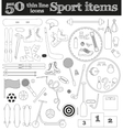 Set of 50 thin line sport icons vector image vector image