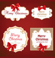 set of cute frame with bow ribbon holiday card vector image vector image