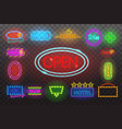 set of neon sign light at night transparen vector image