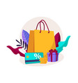 shopping paper bag yellow empty vector image vector image