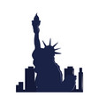 silhouette ny city statue liberty vector image vector image