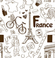 sketch france seamless pattern vector image