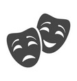 theatrical mask tragedy and comedy black icon vector image