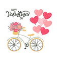 valentines day background bicycle with heart vector image vector image