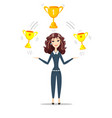 woman holding gold trophy goblet vector image vector image