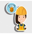 woman worker mask smog vector image