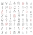 Christmas line icons seamless pattern vector image