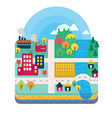 City and Nature Landscape Layer Flat Style vector image