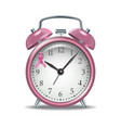 pink alarm clock with pink ribbon vector image
