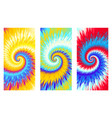 3 abstract colorful spiral tie dye background vector image