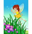 A beautiful fairy in the garden vector image vector image