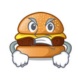 angry cheese burger located on plate cartoon vector image