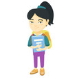 asian schoolgirl with backpack and textbook vector image vector image