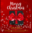 black gift box with red bow merry christmas card vector image