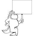 cartoon smiling dinosaur holding a sign vector image vector image