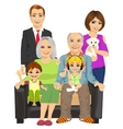 cheerful family at home sitting on sofa vector image