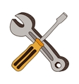 colorful screwdriver phillips and wrench vector image