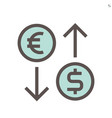 currency exchange icon design for financial vector image vector image