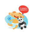 cute baboy happy embracing panda bear toy vector image