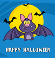 cute vampire bat cartoon character flying vector image