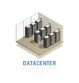 datacenter isometric composition vector image vector image